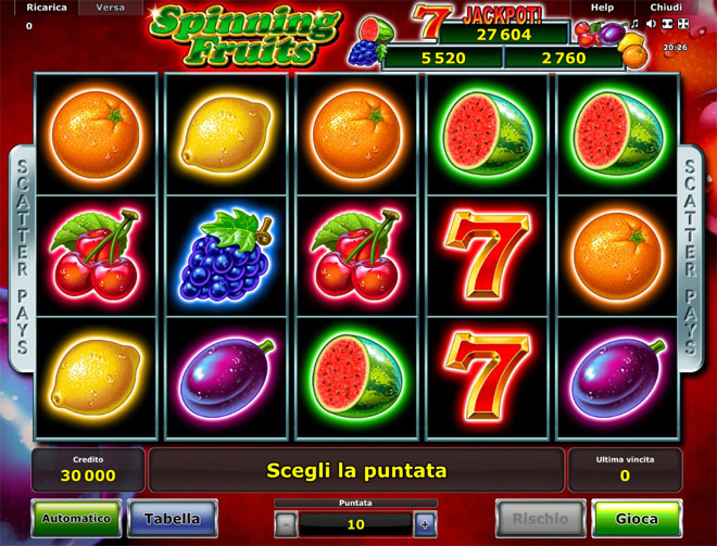vlt spinning fruits gratis