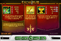 paytable slot excalibur