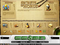 tabella pagamenti slot the secrets of horus