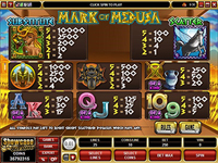 paytable slot online mark of medusa