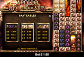 tabella vincite vlt online Apollo God of the Sun